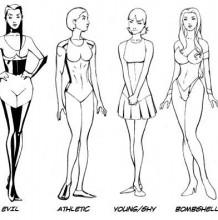 性感的女性上半身怎么绘画? 女性的不同角度pose,手型发型插画素材