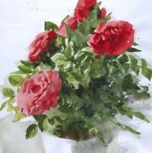 高手水彩玫瑰花怎么画 带盆栽的玫瑰花 好看的玫瑰花教程素材