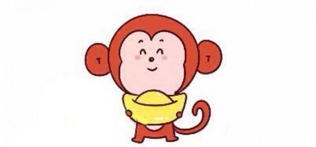 Q版小猴子简笔画画法猴年捧着元宝的猴子怎么画小猴子卡通画教程 图片 3P
