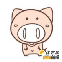 可爱Q版圆鼻子小猪简笔画怎么画 猪猪卡通画教程 猪的儿童画画法