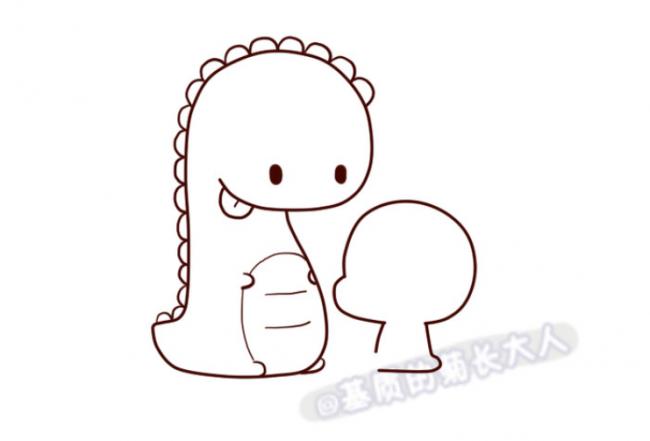 可爱萌的小恐龙简笔画怎么画 恐龙儿童画画法 小恐龙儿童画图片