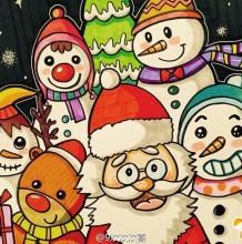 圣诞节主题儿童画作品 圣诞老人,小雪人麋鹿和小朋友开心过圣诞的儿童画图片