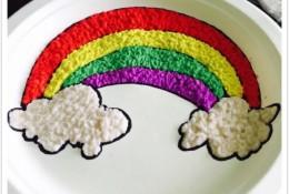 创意餐盘画教程 自制纸浆搭配颜料在一次性餐盘上创作美丽彩虹图案手工画作