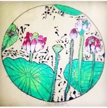 水彩荷塘月色儿童画 中式国画工笔风荷花荷叶景色儿童画绘画作品图片