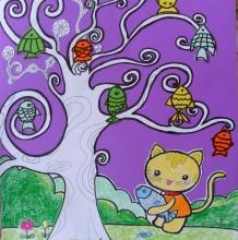 创意猫咪抓鱼儿童拼贴手工画高清大图 挂满鱼的树创意有趣儿童画