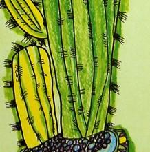 好看的仙人掌儿童画教程作品 彩铅搭配蜡笔创作 创意植物儿童画图片