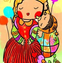 温馨妈妈带着孩子的儿童画优秀作品 妈妈和宝宝的爱的儿童画
