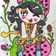 可爱小女孩儿童画优秀作品 坐在草莓上的小女孩卡通画图片