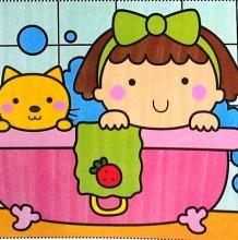小女孩洗澡卡通图片 浴缸洗澡盆简笔画 小朋友洗澡简笔画儿童画