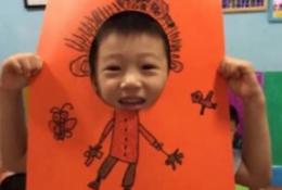 脸部剪出圆洞的创意儿童画 创意有趣儿童自画像 画出身体剪出脸部用自己的脸