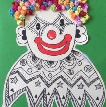 小丑儿童画图片 滑稽小丑手工大班 幼儿绘画小丑图片
