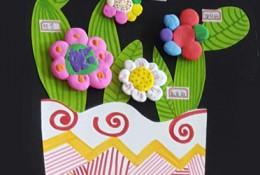 创意儿童盆栽植物手工画 画画加剪纸加粘土创作简单趣味创意儿童盆栽植物