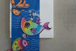 小猫钓鱼儿童画 小猫钓鱼手工拼贴画作品教程