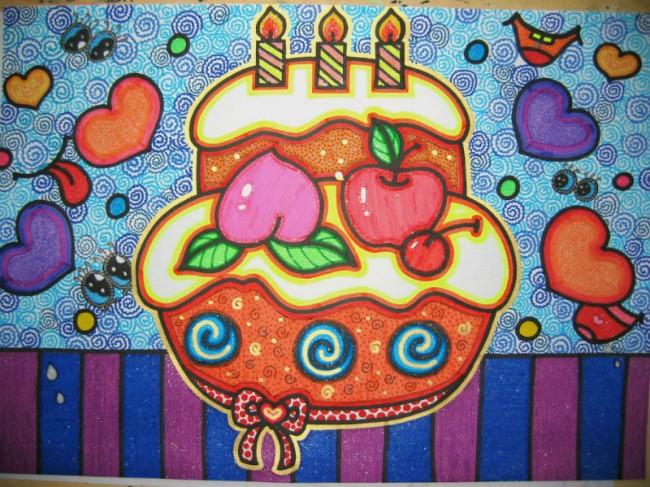 还是彩笔什么的都是可以的。这里也为大家选择了很多款,大家可以选择自己喜欢的来画。当然也可以发挥自己的想象力来进行创作。只要大的感觉对了就没有问题。 需要注意的是蛋糕一般都是一层一层的缩小,像一个宝塔一样的造型,生日蛋糕上会有很多装饰,比如水果或者动物做成的图案,另外就是蛋糕上会有生日蜡烛。