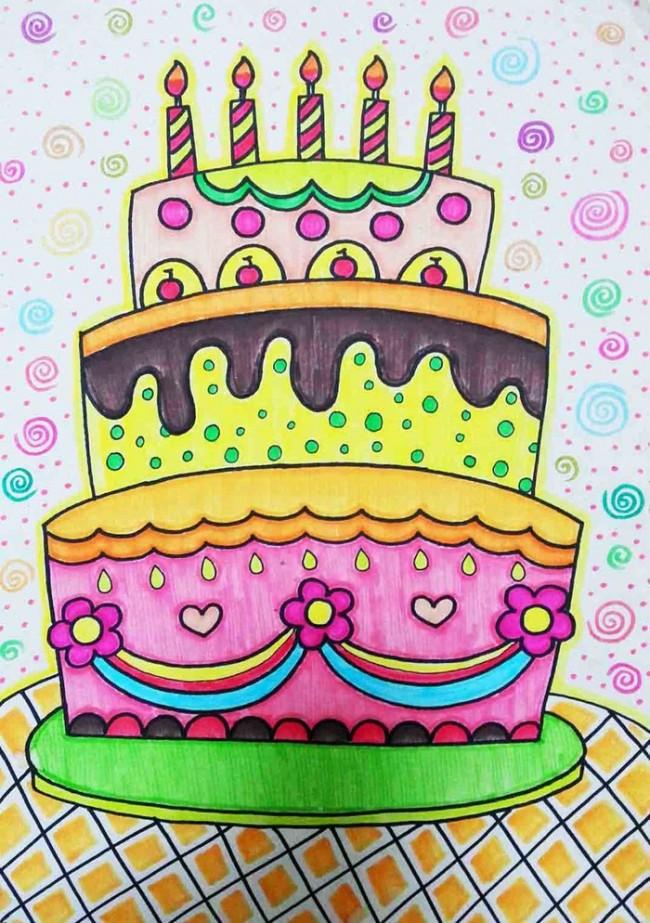 蛋糕简笔画图片大全 生日蛋糕简笔画彩色 儿童画蛋糕图片大全(2)