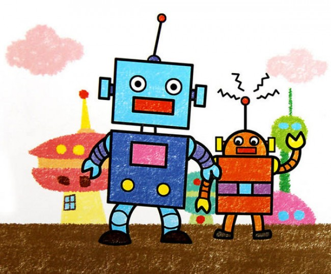 了。 由于机器人可以天马行空的发挥想象,所以星星姐姐也推荐大家能够自己发挥想象力画出不一样感觉的机器人,脖子很长?手很长?眼睛超大?这些都没有关系。喜欢带攻击性的还可以给你的机器人佩戴上武器导弹呢。  来源:微博/网络  原作者:@ 图片水印