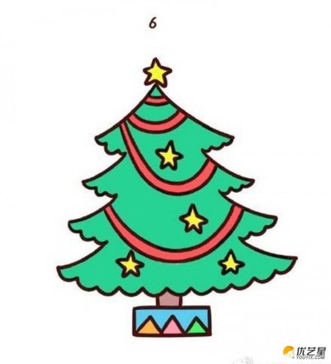 圣诞树简笔画彩色 圣诞树卡通图片 幼儿绘画圣诞树 儿童学画圣诞树