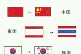 儿童简笔画国旗 中国国旗简笔画 世界各国简笔画国旗画法