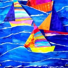 大海儿童画 创意手撕大海帆船手工拼贴画图片彩色作品