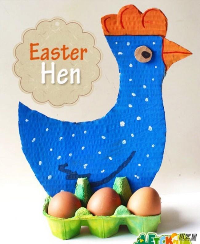 简单创意下蛋母鸡幼儿手工画 鸡蛋托加卡纸加绘画制作