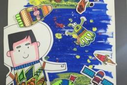 宇航员简笔画 儿童画宇航员太空拼贴画手工画