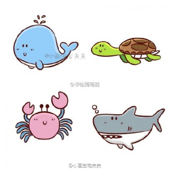 海洋动物简笔画彩色教程 海洋动物简笔画怎么画图片教程