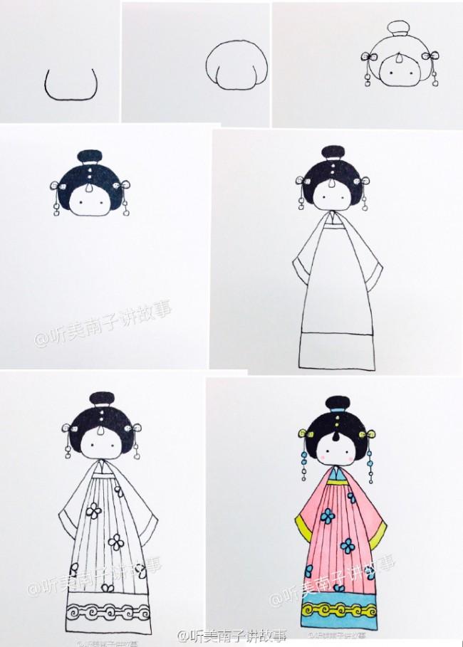 9款可爱古装美女简笔画教程漂亮的古装衣服简笔画Q版古装美女简笔画怎么画