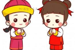 可爱祝福恭贺状童男童女简笔画教程 古代服饰装扮小男生女孩怎么画