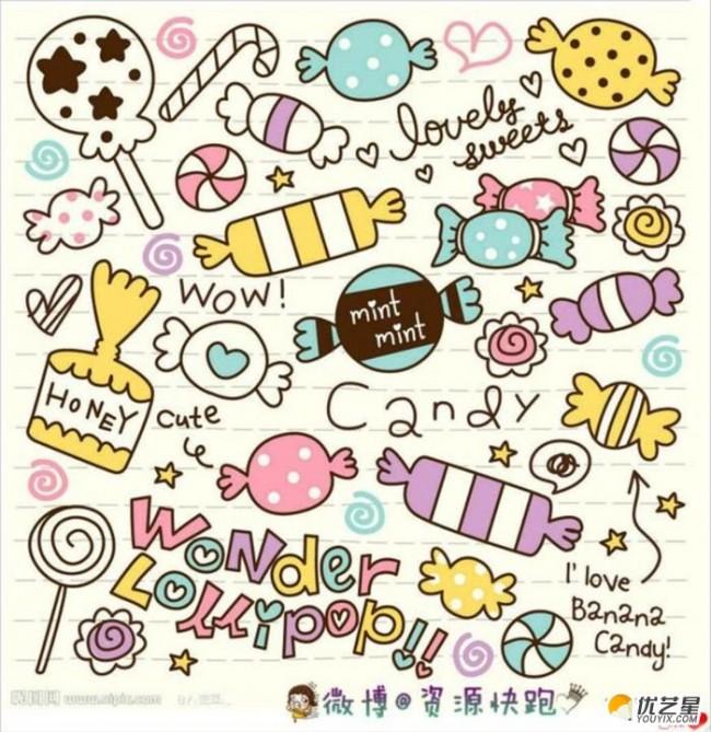 糖果簡筆畫怎么畫 糖果冰激凌,零食,美食小吃簡筆畫素材教程彩色