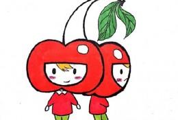 樱桃简笔画 卡通可爱的樱桃少女卡通画简笔画教程画法