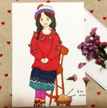 坐着的女孩简笔画 马尾辫身穿红色毛衣唯美女孩简笔画加水彩上色步骤