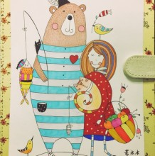 唯美女孩和熊的意境简笔画教程 带水彩上色步骤