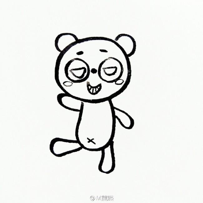 坏坏的大熊猫简笔画教程 熊猫简笔画图片 可爱的熊猫儿童画怎么画