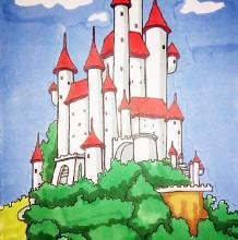 漂亮的城堡简笔画教程图片 城堡简笔画怎么画 城堡的画法 水彩城堡上色卡通画