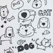 猫狗的简笔画图片教程 简单的猫和狗的画法 猫狗怎么画