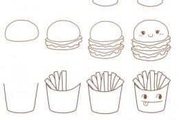 肯德基简笔画 汉堡、薯条、可乐的简笔画画法教程 肯德基快餐食物怎么画