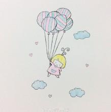 小女孩抓着气球飞翔的简笔画教程 可爱唯美的小女孩和气球的简笔画画法图片
