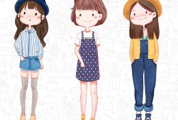 时尚亮丽女生各种服饰装扮的漫画插画图片 可爱又迷人的女生装扮卡通画