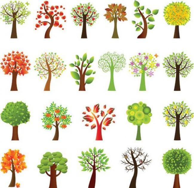 100种简单可爱的小树简笔画画法 最简单的树木简笔画图片大全