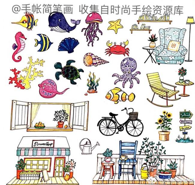常见各类手帐简笔画素材图片大全:日常生活用品,q版人物画法,瓜果蔬菜