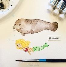 萌萌治愈系动物水彩画图片多图 很简单但是很唯美有爱 让人想画
