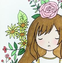森系女生简笔画教程加上色 植物环绕的女生简笔画画法图片