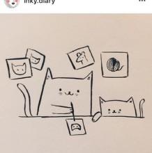 超简单猫咪生活简笔画线稿素材 猫咪的生活简笔画图片 很有趣
