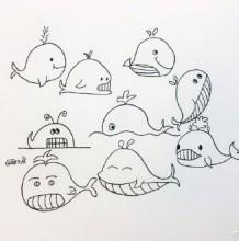 各种鲸鱼,鲨鱼,海豚姿势简笔画素材线稿图片 鲸鱼,鲨鱼,海豚的画法