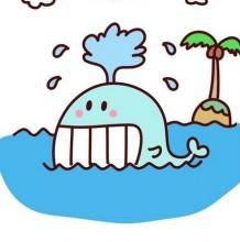 开心欢乐的鲸鱼简笔画怎么画 笑着喷泉等鲸鱼加场景简笔画教程图片 鲸鱼的画
