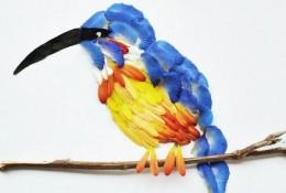 唯美用花瓣拼贴的各种鸟类拼贴画作品 超唯美逼真的效果 赞