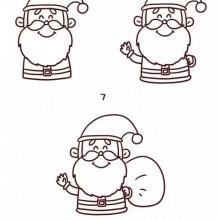 圣诞节主题简笔画教程大全 圣诞节相关简笔画图片 圣诞老人 雪花 雪人 麋鹿