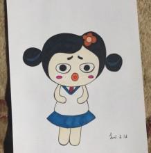 比较另类的小女生简笔画画法 我很丑但是人家很温柔啦 有趣的女生简笔画教程