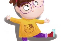 可爱双马尾调皮小女孩插画教程图片 带着眼镜很可爱的小女生ps教程