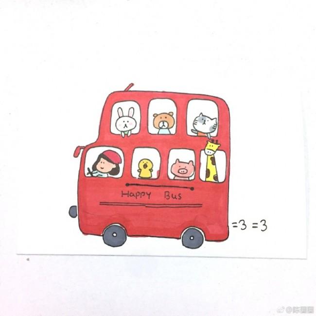 装满小动物的巴士简笔画教程 可爱小巴士怎么画 巴士的简笔画画法